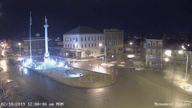 time-lapse frame, Monument Square Center webcam