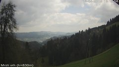 view from VREME ŽIRI-cam-3-VZHOD-Mrzli vrh on 2019-04-15