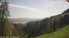view from VREME ŽIRI-cam-3-VZHOD-Mrzli vrh on 2019-04-17